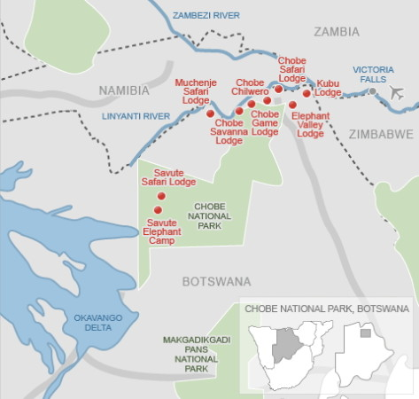 Chobe National Park em Botsuana map